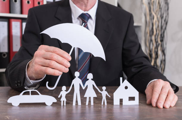 family, house and car insurance concept - insurance stock photos and pictures