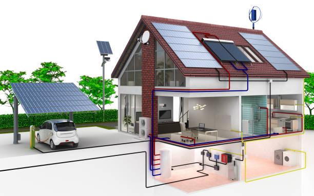 einfamilienhaus-energieversorgung - sonnenenergiegerät stock-fotos und bilder