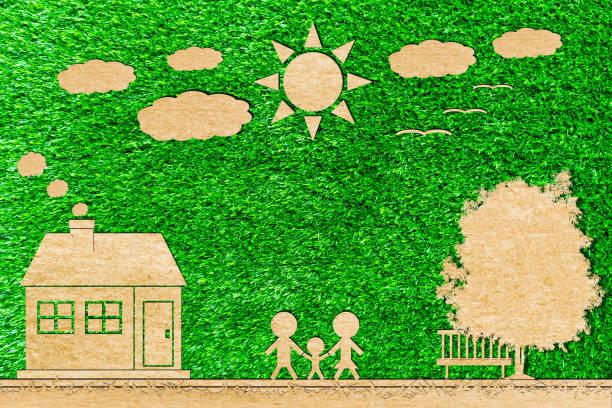 einfamilienhaus der baum sonne und wolken papierschnitt - eco bastelarbeiten stock-fotos und bilder