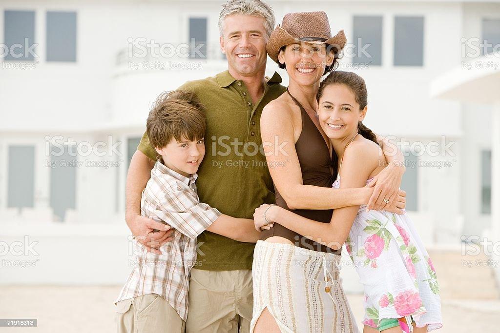 Family hugging royalty-free stock photo