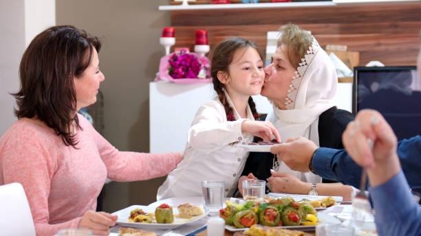 Family iftar meal in Ramadan stock photo