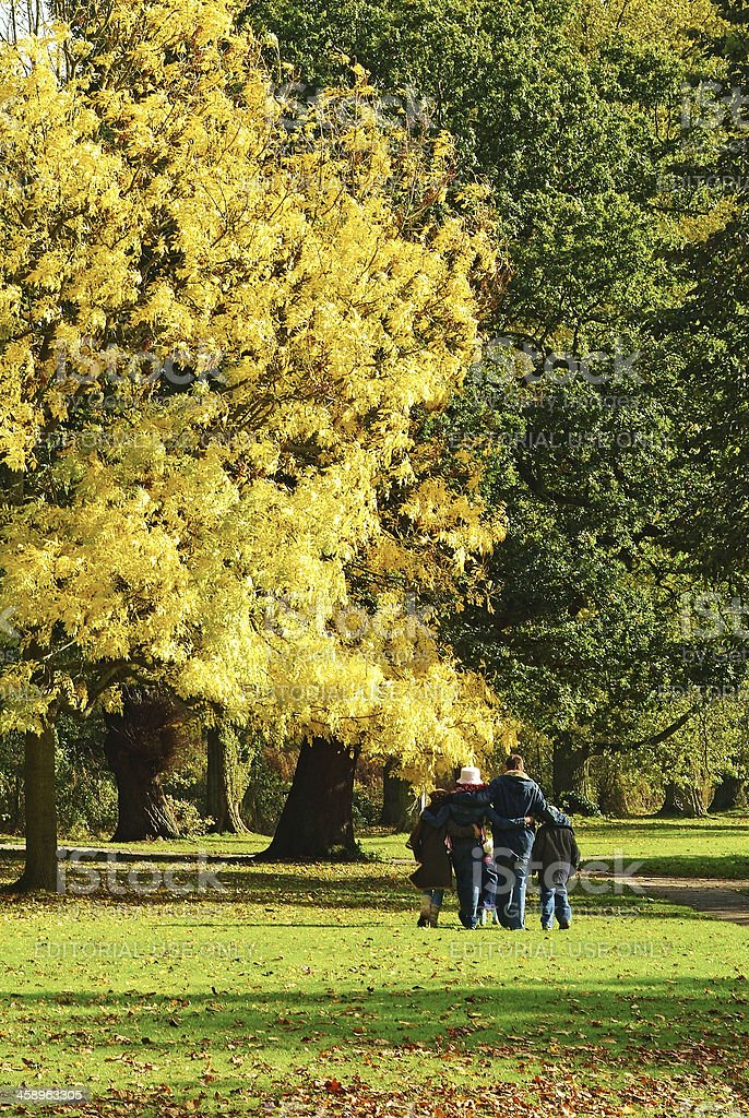 Family in a green park during autumn sunny day. royalty-free stock photo