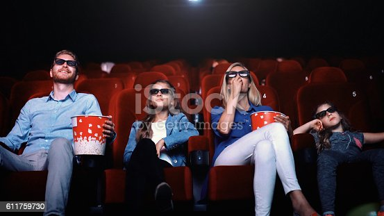 Closeup front view of young family with two daughters watching a 3D movie at movie thater. They are sitting on first row, eating pop corn and wearing 3D glasses.