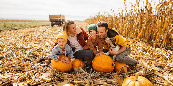 Photo of a happy young family and their dog enjoying their autumn days on a pumpkin field; family exploring pumpkin patches in the fall and preparing for the upcoming holidays.