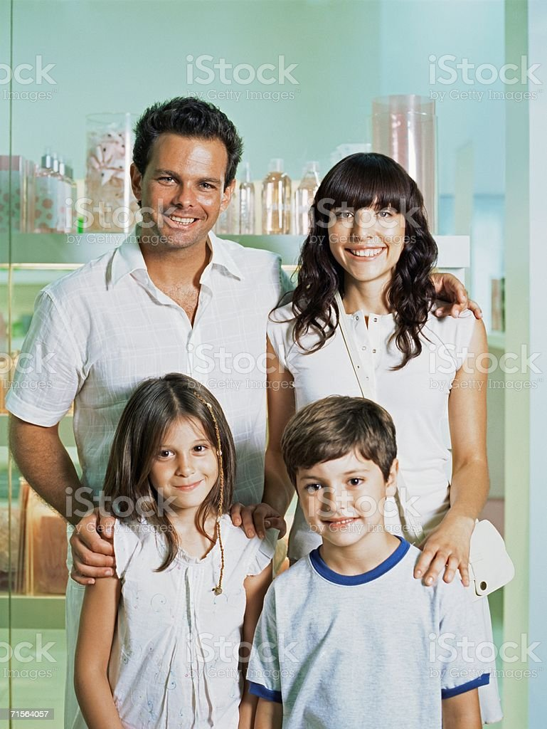 Family in a shop royalty-free stock photo