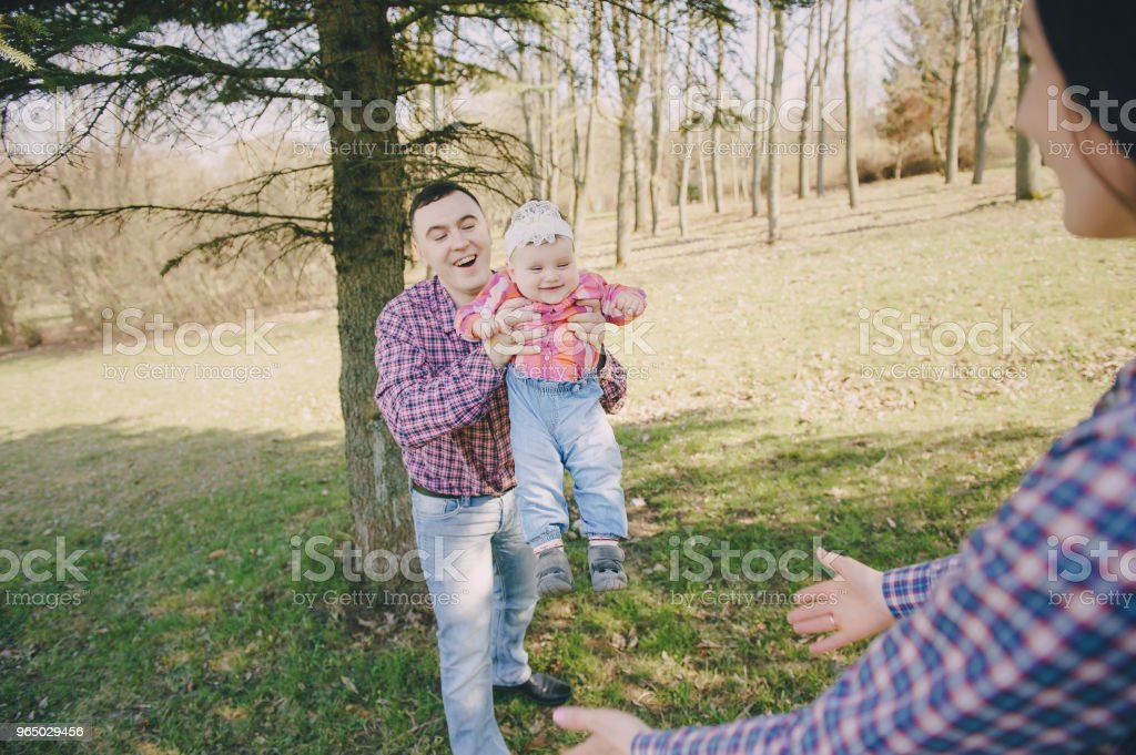 family in a wood royalty-free stock photo