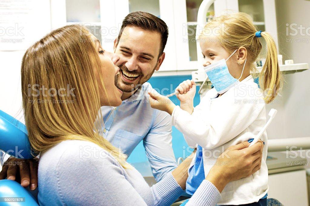 Family in dental office stock photo