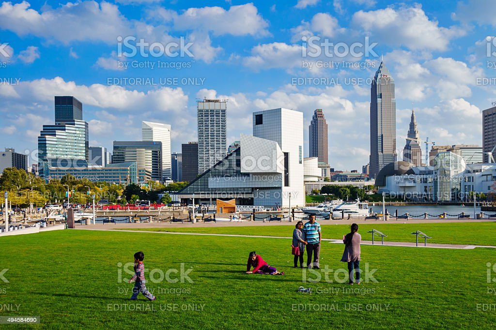 Family in Downtown Park Cleveland Ohio USA stock photo