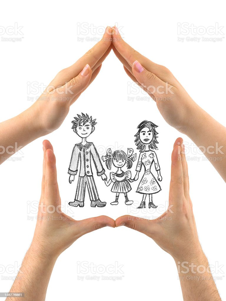 Family in house made of hands royalty-free stock photo