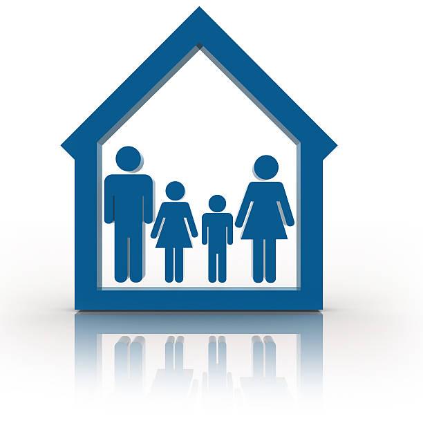 Familie im Haus-Symbol – Foto