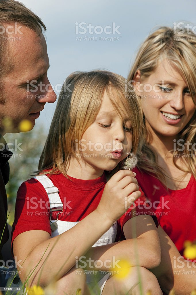 Family in meadow with dandelion royalty-free stock photo