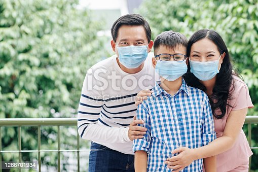 istock Family in medical masks 1266701934