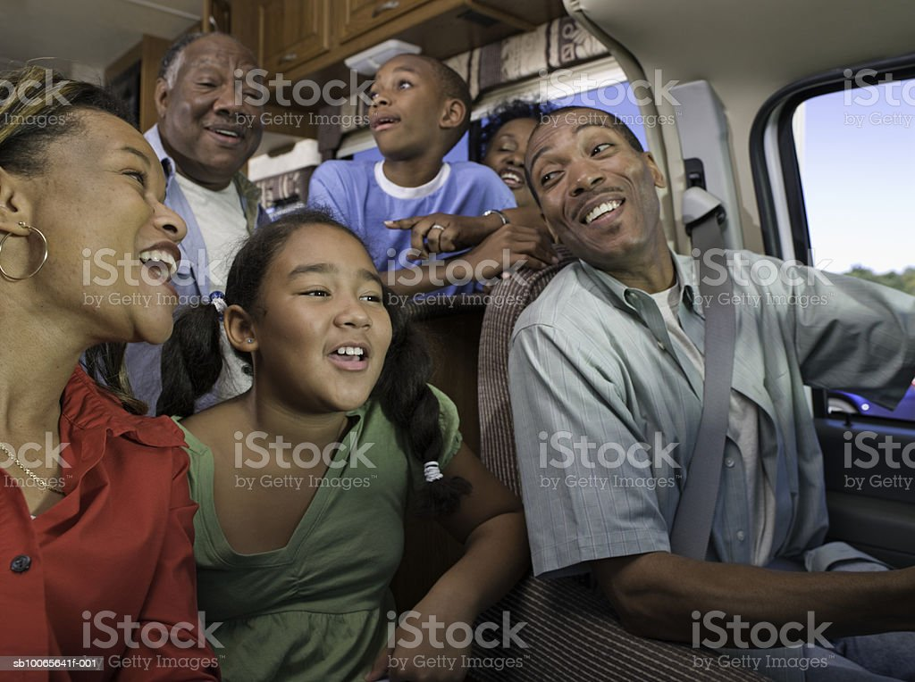 Family in motorhome royalty free stockfoto