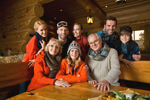 Family In Mountain Restaurant Stock Photo - Download Image Now