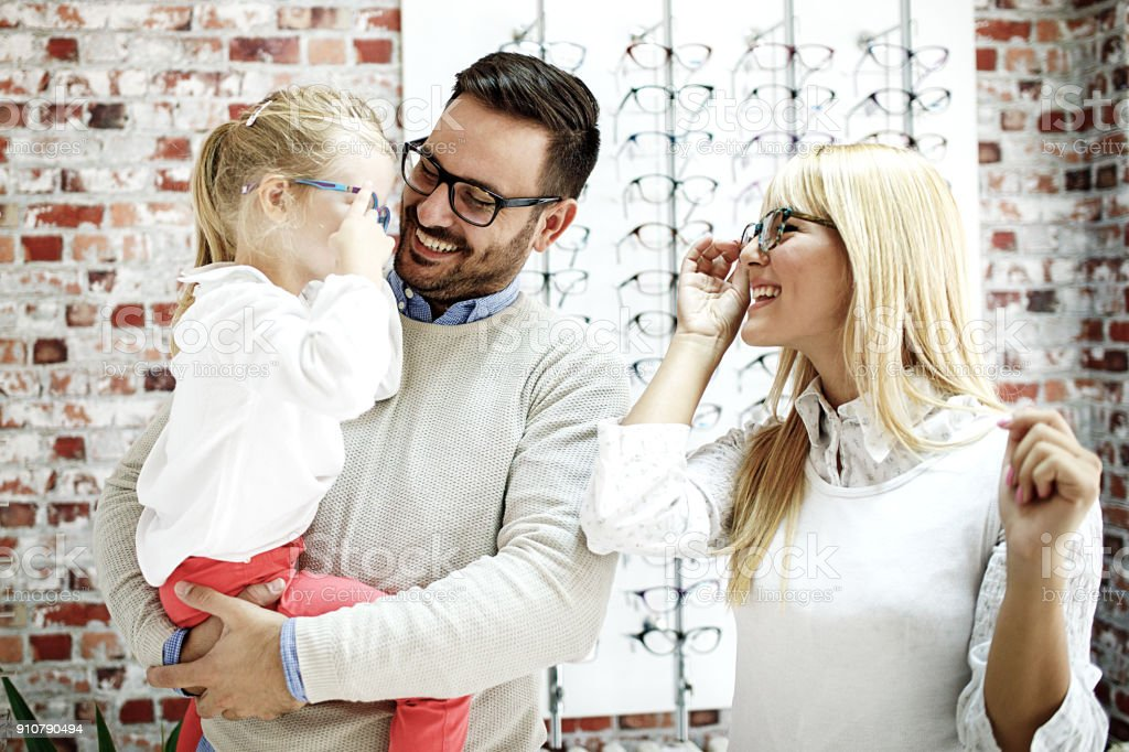 Family in Optics Store stock photo