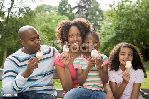 istock Family in park with ice creams 79328288