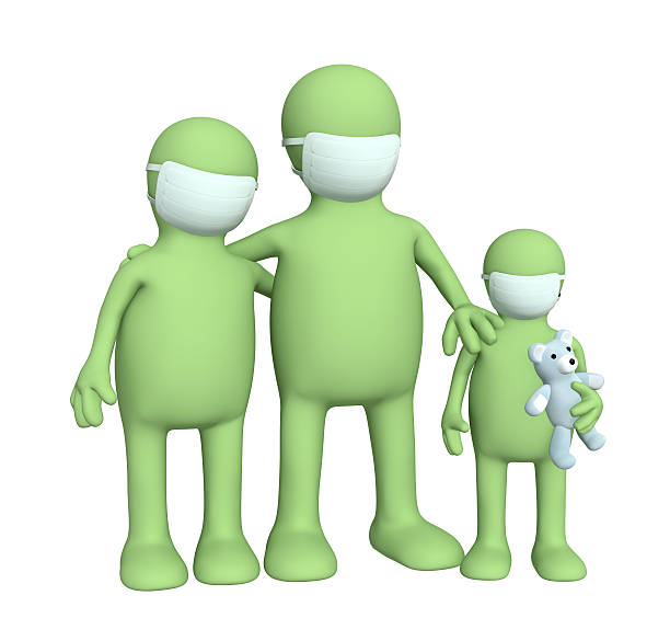 Family in protective masks stock photo