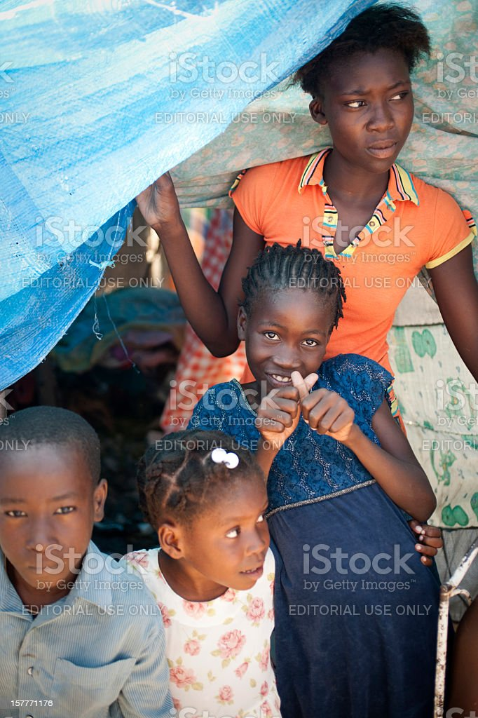Family in refugee camp stock photo