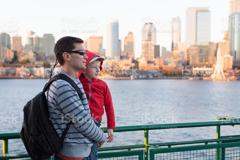 family in seattle stock photo