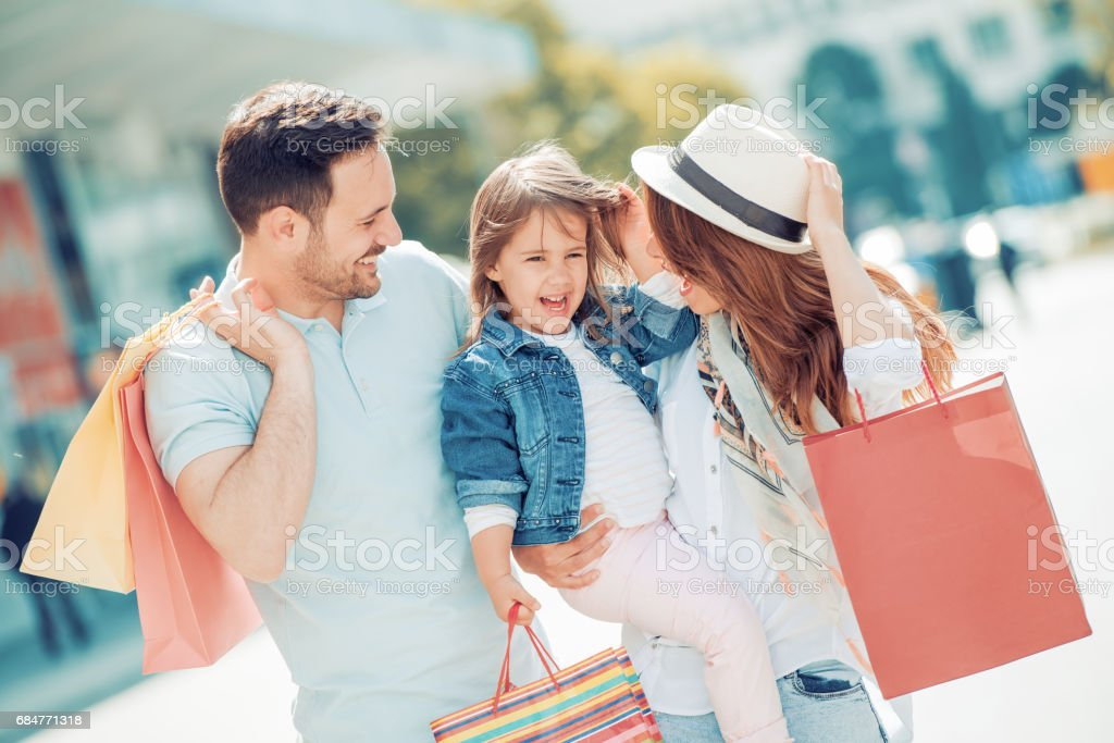 Family in shopping stock photo