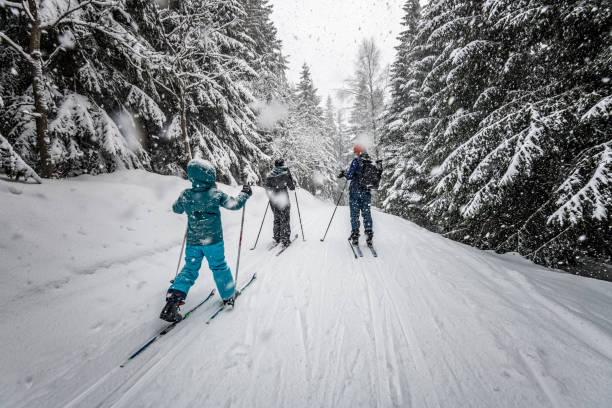 family in snowy winter landscape on cross-country-ski family in snowy winter landscape of giant mountains on cross-country-ski ski stock pictures, royalty-free photos & images