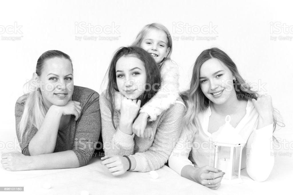 family in studio stock photo