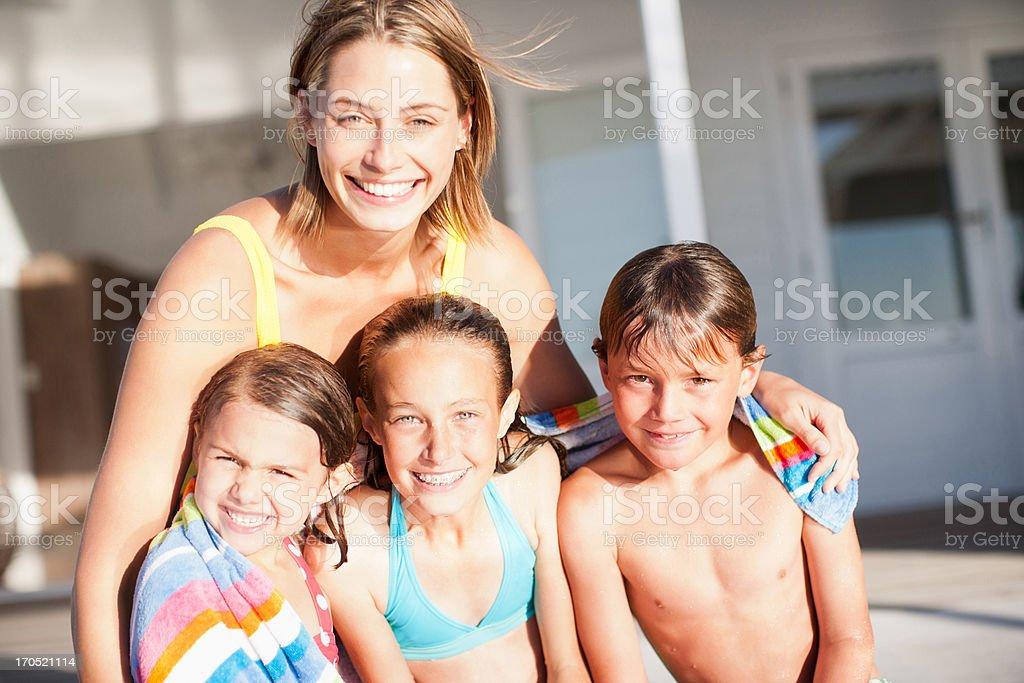 Family in swimwear stock photo