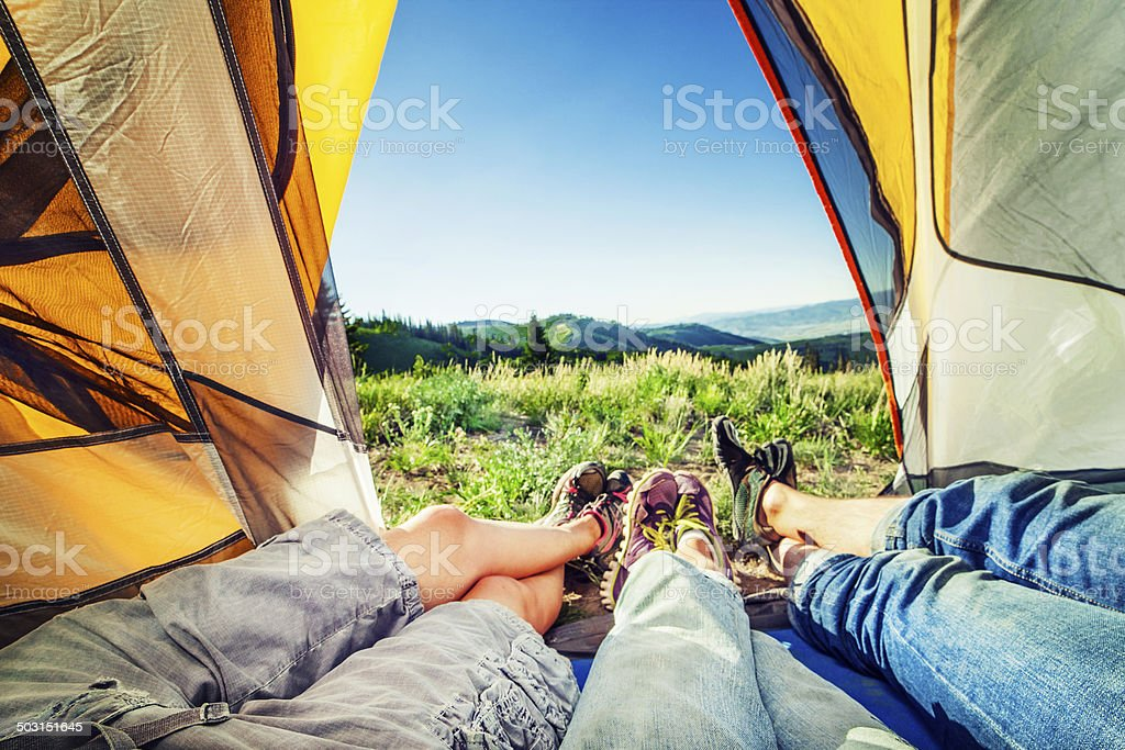 Family in tent royalty-free stock photo