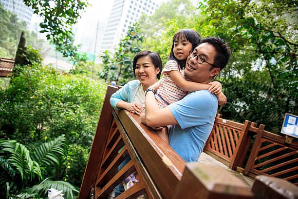 Family in the city aviary stock photo