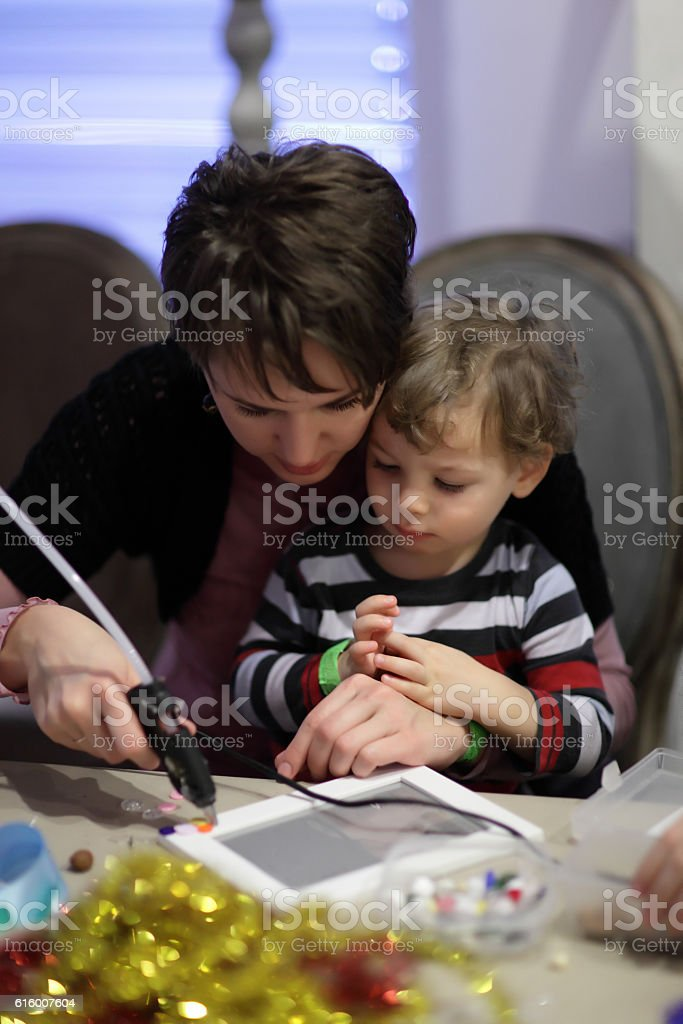 Family in the classroom stock photo