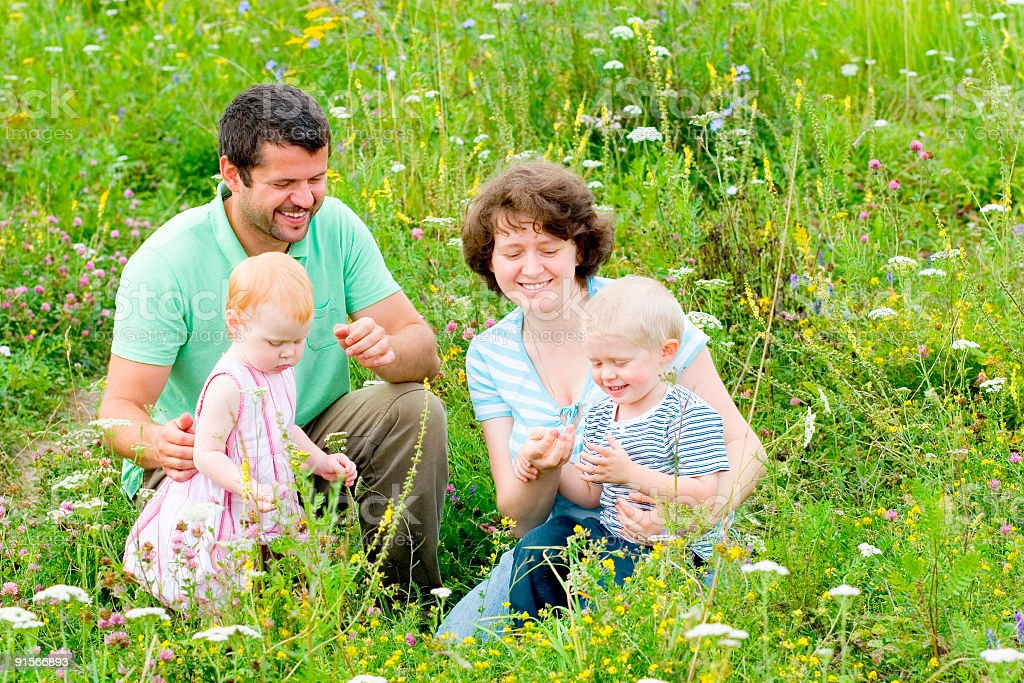 Family in the meadow stock photo