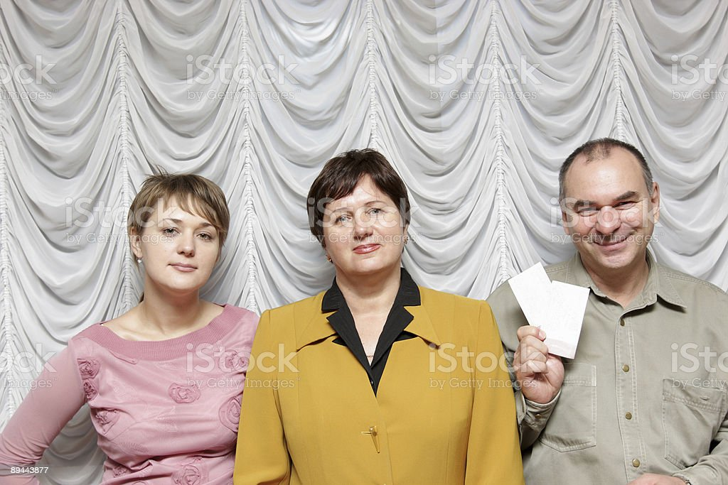 Family in theatre royalty-free stock photo