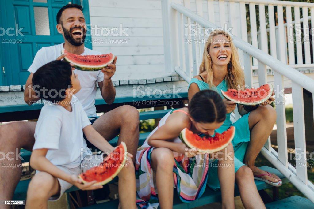 Family In Their Lake House stock photo