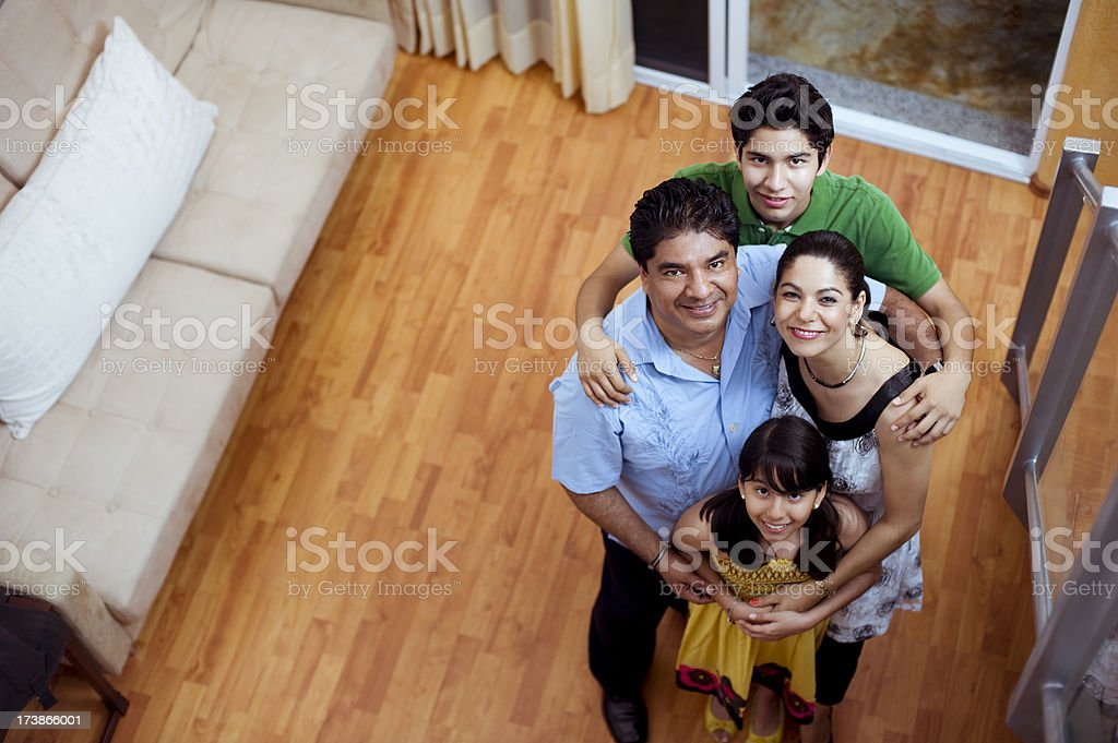Family in their living room stock photo