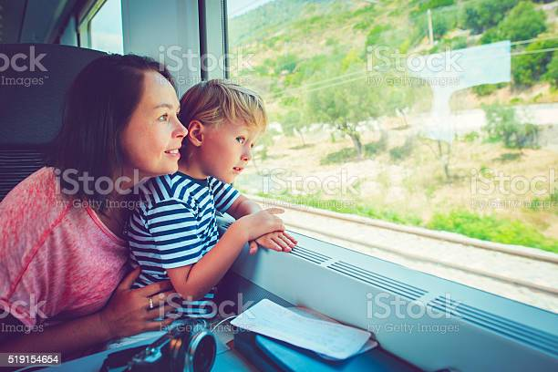 Family In Train Stock Photo - Download Image Now