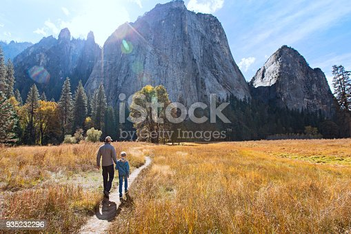 back view of active family of two, father and son, enjoying valley and mountain view in yosemite national park, california, active family vacation concept