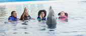 A family with two children, 14 and 9 years old, visiting a marine education park. They are wearing life jackets, standing in the water, playing with a bottlenose dolphin.