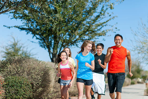 Family Jogging stock photo