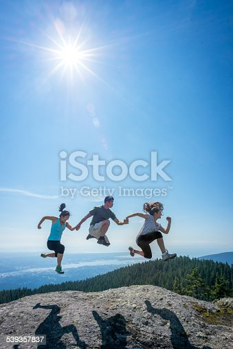 903015102 istock photo Family Jumping in Row on Mountain Top, Holding Hands 539357837
