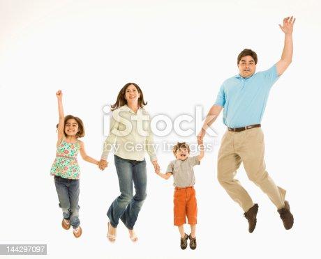 istock Family jumping. 144297097