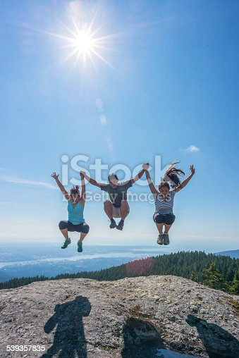 903015102 istock photo Family Jumping Together on Edge of Mountain Top, Holding Hands 539357835