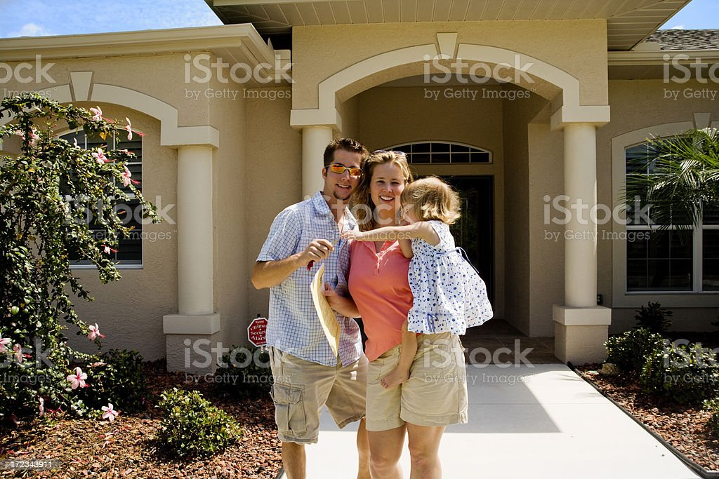 Family just signed their loan documents royalty-free stock photo