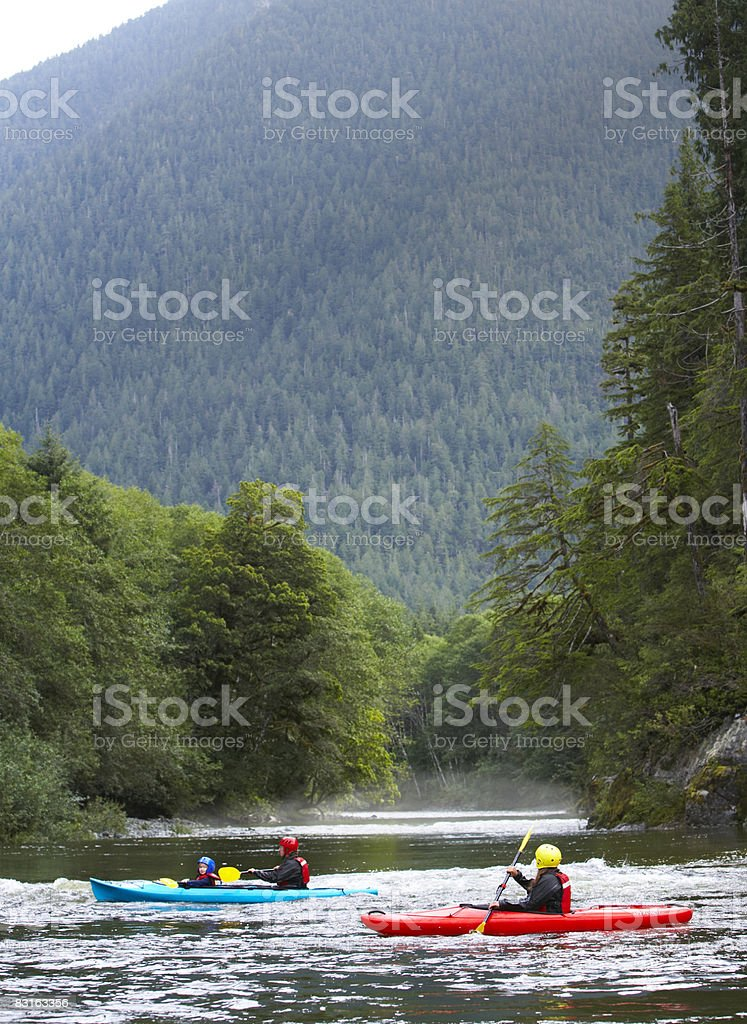 Family kayaking on river. royalty free stockfoto