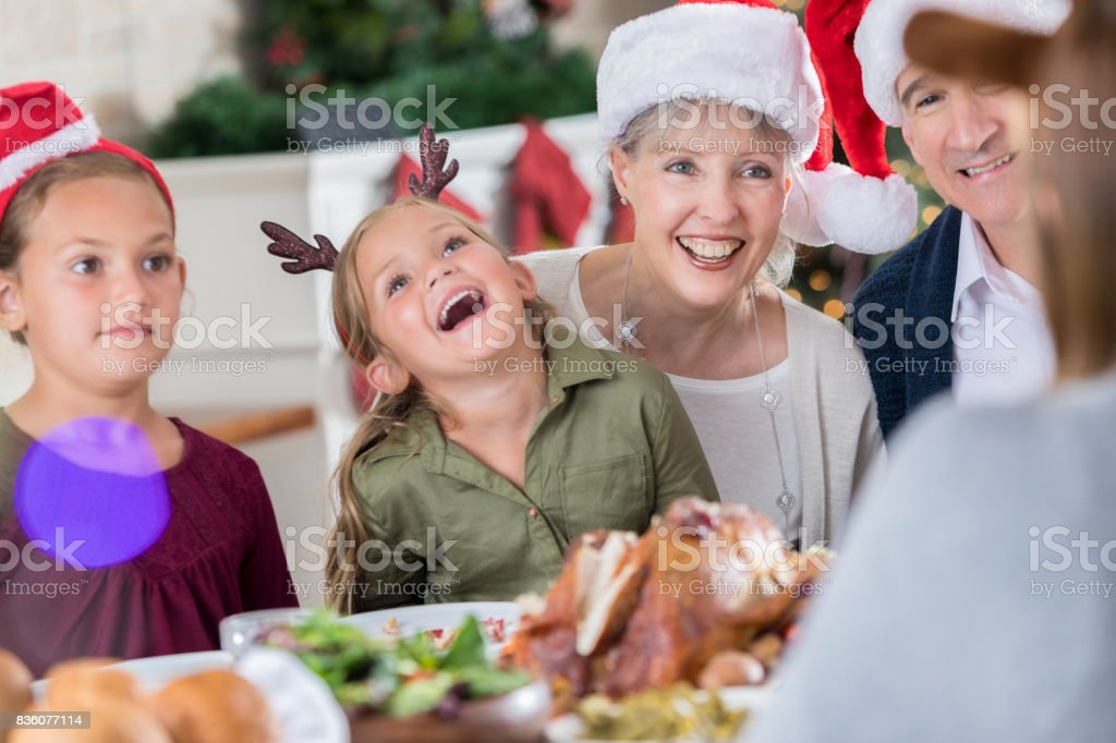 Family Laughs At Christmas Dinner Story Stock Photo Download Image Now Istock