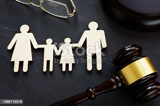 Family law concept. Figures and gavel. Divorce.