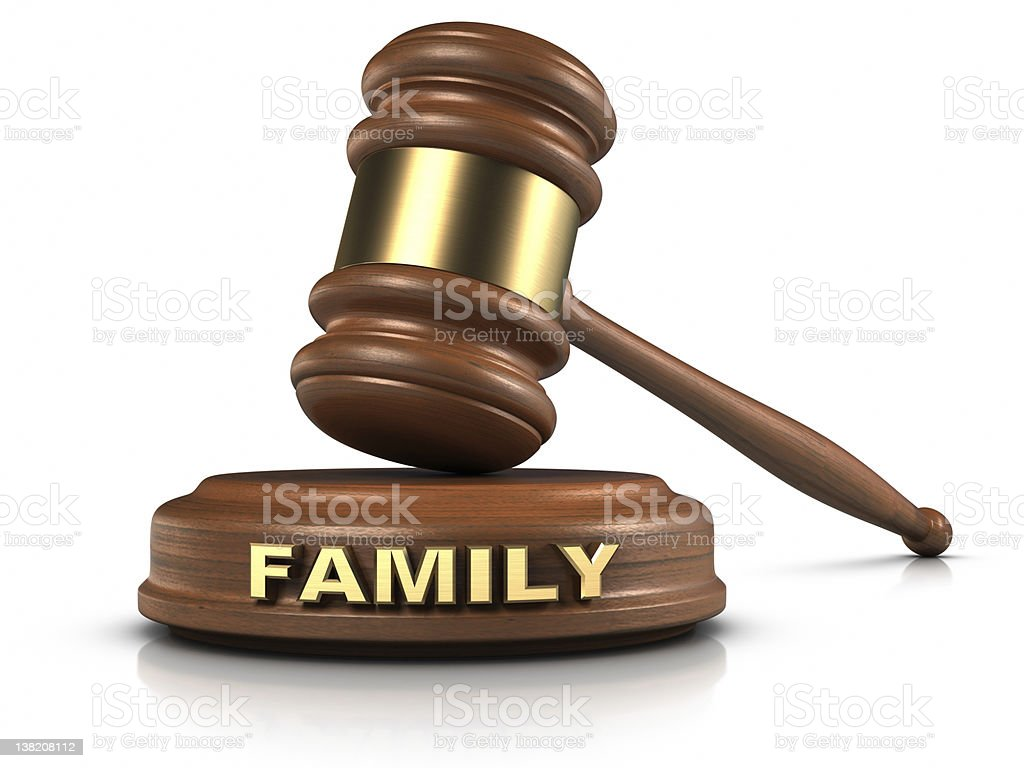Family law symbolized by a judge hammer royalty-free stock photo