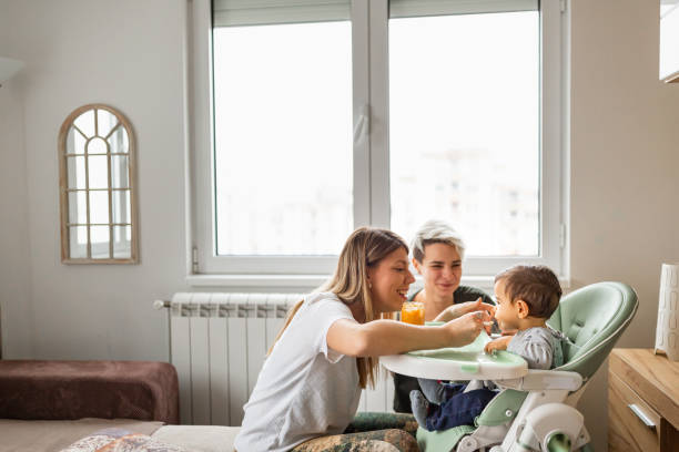 Family life. Lesbian couple with baby at home. stock photo