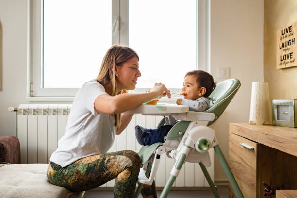Family life. Mother feeding her baby at home. stock photo