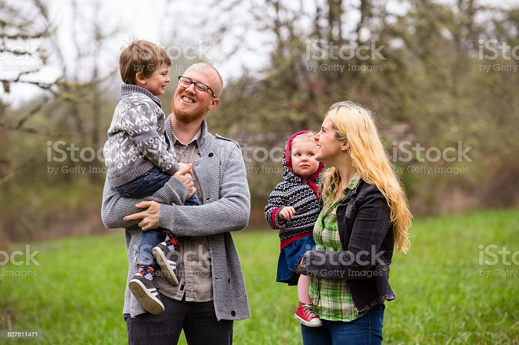 Family Lifestyle Portrait Outdoors stock photo
