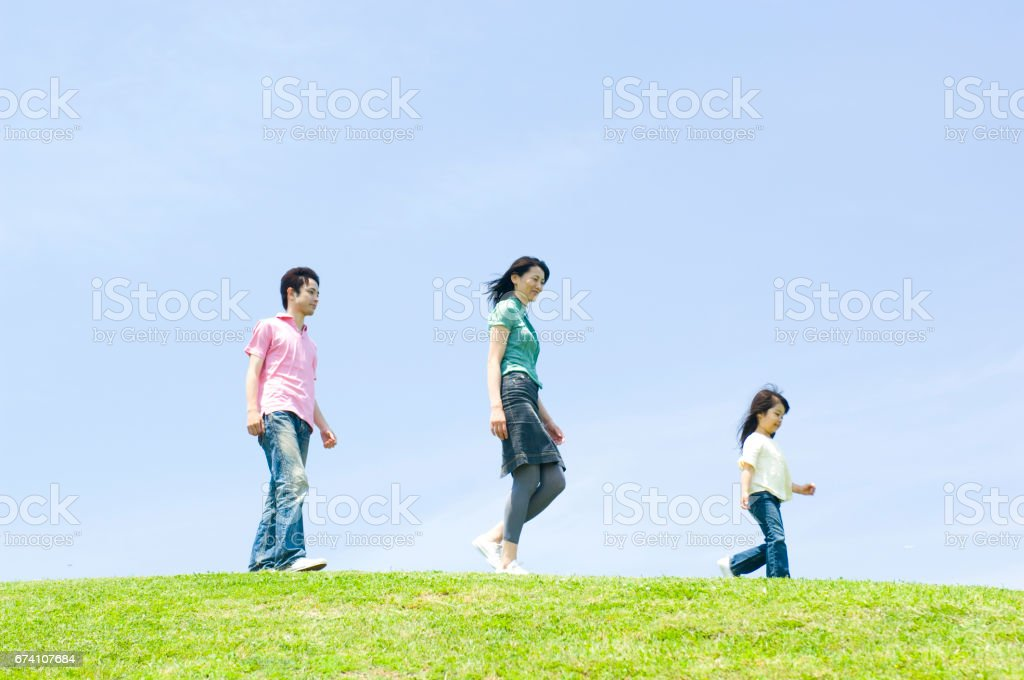 Family lined up on the Hill, walk royalty-free stock photo